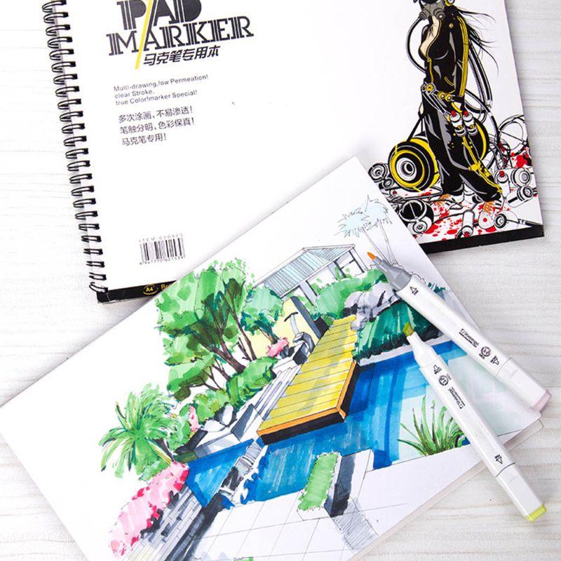34 folha a3 a4 a5 profissional marcador papel espiral esboco bloco de notas pintura livro desenho