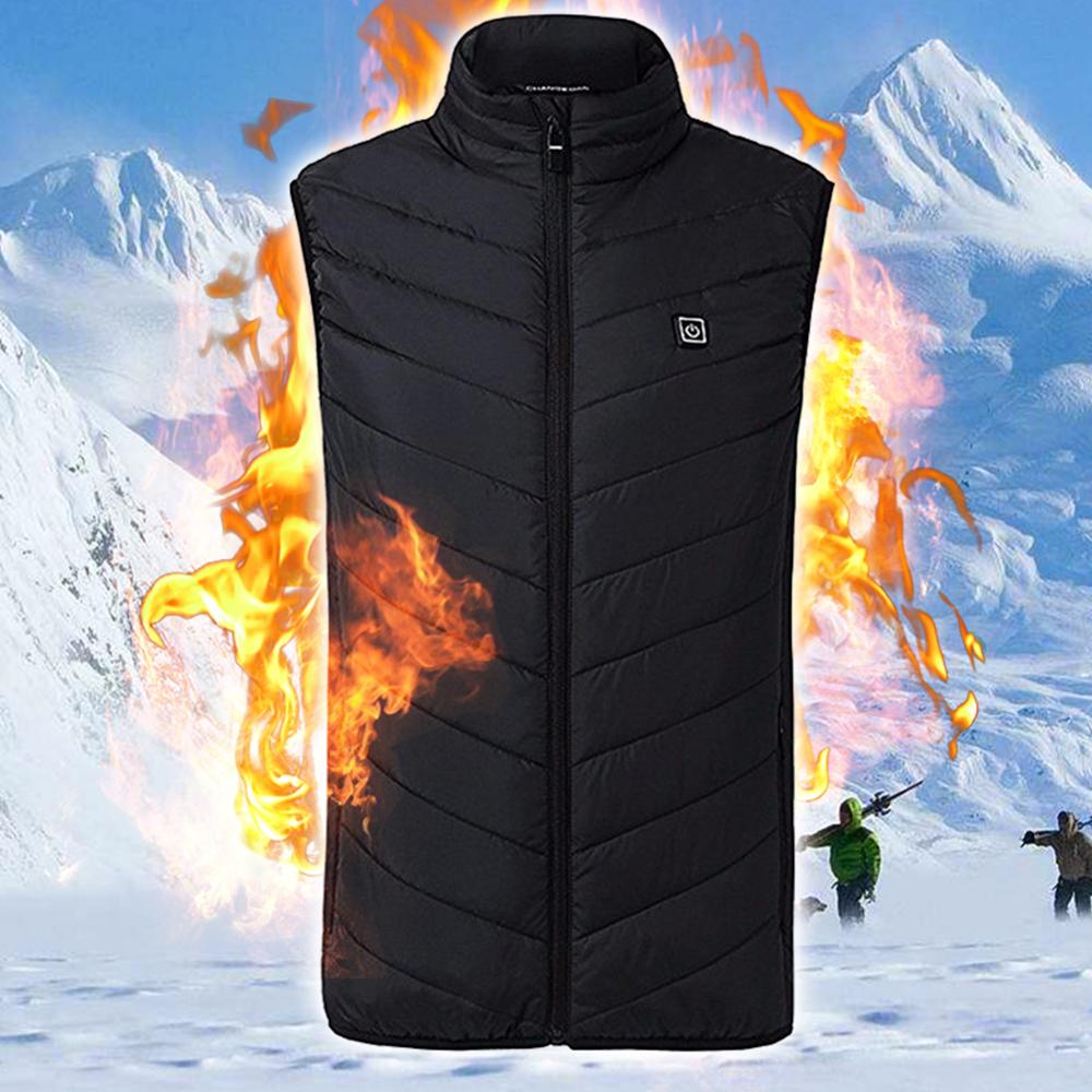 2019 Men Outdoor USB Infrared Heating Vest Jacket Winter Flexible Electric Thermal Clothing Waistcoat For Sports Hiking Fishing