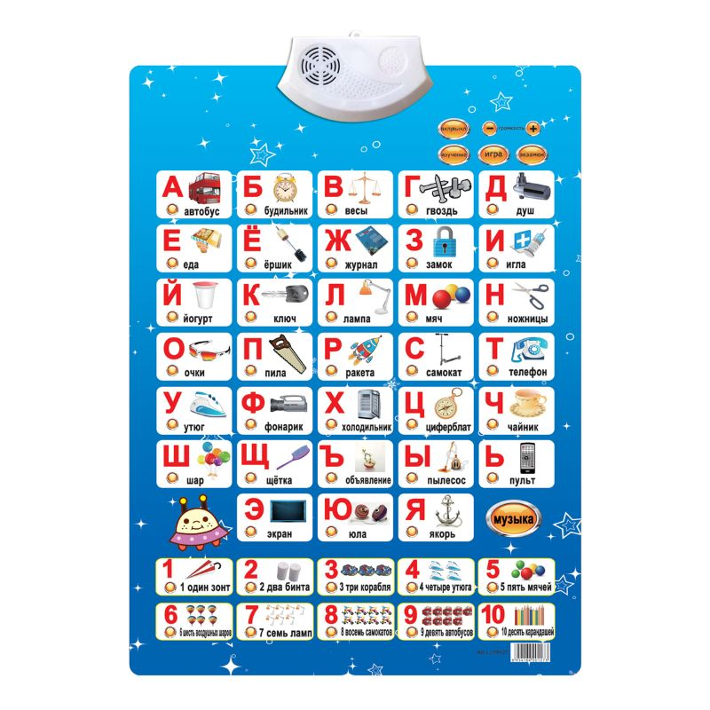 Russian Music Alphabet Talking Poster Russia Kids Education Toys Electronic ABC CORB
