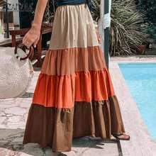 ZANZEA-faldas plisadas con volantes bohemias para mujer, faldas elegantes de cintura alta, Vestidos de retazos de colores, ropa de calle, Túnica de Jupe S-5XL