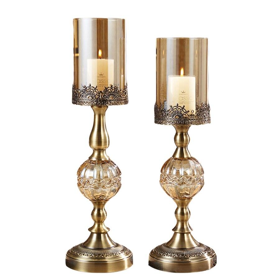 Luxe Amerikaanse Kandelaar Metalen Romantische Verjaardag Kaarsen Wieden Kaars Kerst Houders Decoraties Thuis Room Decor 50X028