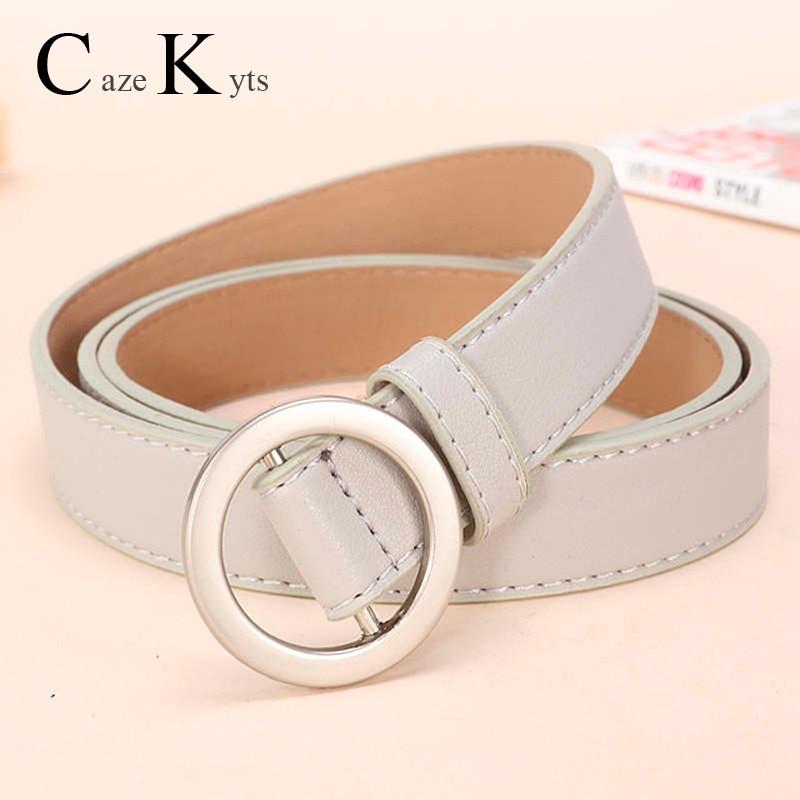 Genuine Leather Women Belts Alloy Round Buckle Belts Luxury Brand Fashion High Quality Women's Dress With Waist Belts For Women
