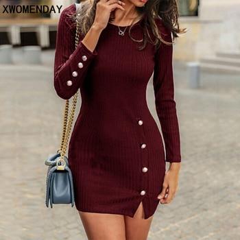 Short Women Dress Long Sleeve 2019 Autumn Winter Sexy Bodycon Mini Dress With Button Slit Plus Size Ladies Casual Black Dress 1