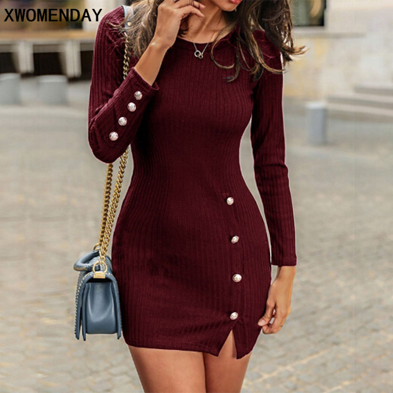 Short Women <font><b>Dress</b></font> Long <font><b>Sleeve</b></font> 2019 Autumn <font><b>Winter</b></font> <font><b>Sexy</b></font> Bodycon Mini <font><b>Dress</b></font> <font><b>With</b></font> Button Slit Plus Size Ladies <font><b>Casual</b></font> Black <font><b>Dress</b></font> image