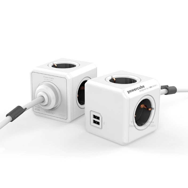 Allocacoc ue listwa zasilająca inteligentnego domu przedłużacz 1.5 M 3 M Powercube gniazdo z wieloma wtyczka ładowania 2 porty USB podróży adaptery do domu