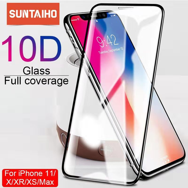 Suntaiho 10D protective glass for iPhone X XS 6 6S 7 8 plus glass screen protector for iPhone 11 Pro MAX XR X screen protection