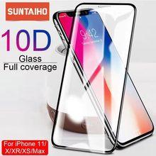 Suntaiho protector de cristal 10D para pantalla de móvil, protector de pantalla para iPhone X, XS, 6, 6S, 7, 8 plus, 11, ProMAX, XR, SE2