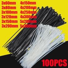 Самоблокирующиеся пластиковые нейлоновые стяжки 100 шт. черно-белые кабельные стяжки крепежные кольца кабельные стяжки застежка-молния обертывания ремень нейлоновые кабельные стяжки