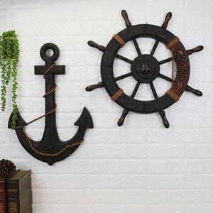 Деревянный корабль в средиземноморском стиле, деревянный руль, корабль, якорь, старинный Декор для дома, настенное украшение, винтажные акс...