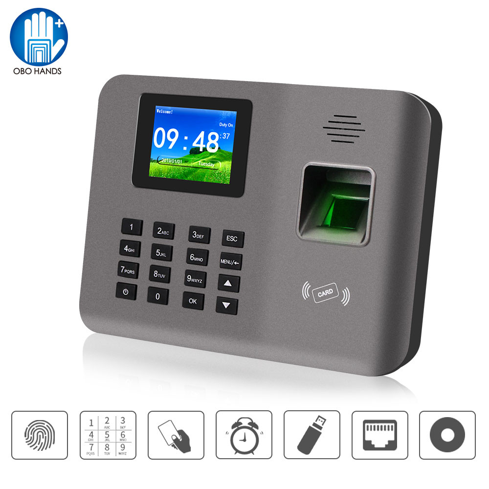Realand 2.4inch Biometric Fingerprint Time Attendance Machine RFID Card TCP/IP/USB Attendance System Time Clock Device Software