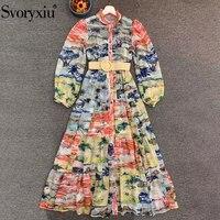 Svoryxiu Fashion Designer Autumn Women Bohemian Vacation Midi Dresses Ladies Multicolor Print Belt Long Sleeve Shirt Dress