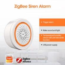 Novo tuya zigbee sensor de umidade de temperatura neo tuya sensor inteligente embutido sirene alarme 90db sensor de luz de som casa inteligente