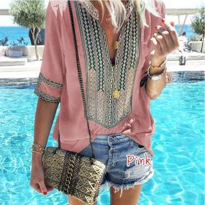 Image 2 - ผู้หญิง 2020 เสื้อฤดูร้อนใหม่เสื้อผู้หญิงลาย V คอครึ่งแขนเสื้อ Blusas แฟชั่นหญิง Streetwear เสื้อ