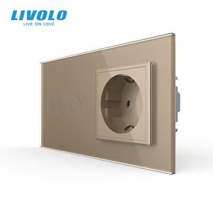 Image 3 - Livolo 16A EU standard Wand Steckdose mit Touch Schalter, AC220 ~ 250V,7 farben Kristall Glas Panel, C702 C7C1EU 11, keine logo