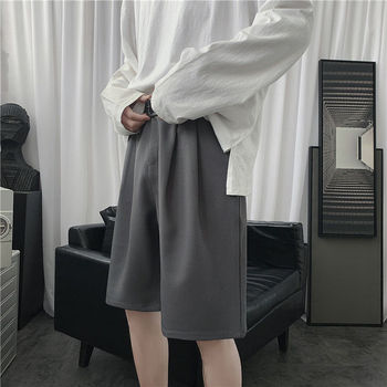 Summer Suit Shorts Mens Fashion Solid Color Business Casual Dress Men Streetwear Loose Korean Straight Five-point Pants