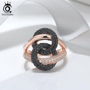 Image 2 - לאורסה תכשיטים יוקרה לשלב מעגל קוקטייל טבעות מבריק מעוקב זירקון Infnite חתונת אירוסין טבעת תכשיטים טרנדי SR172