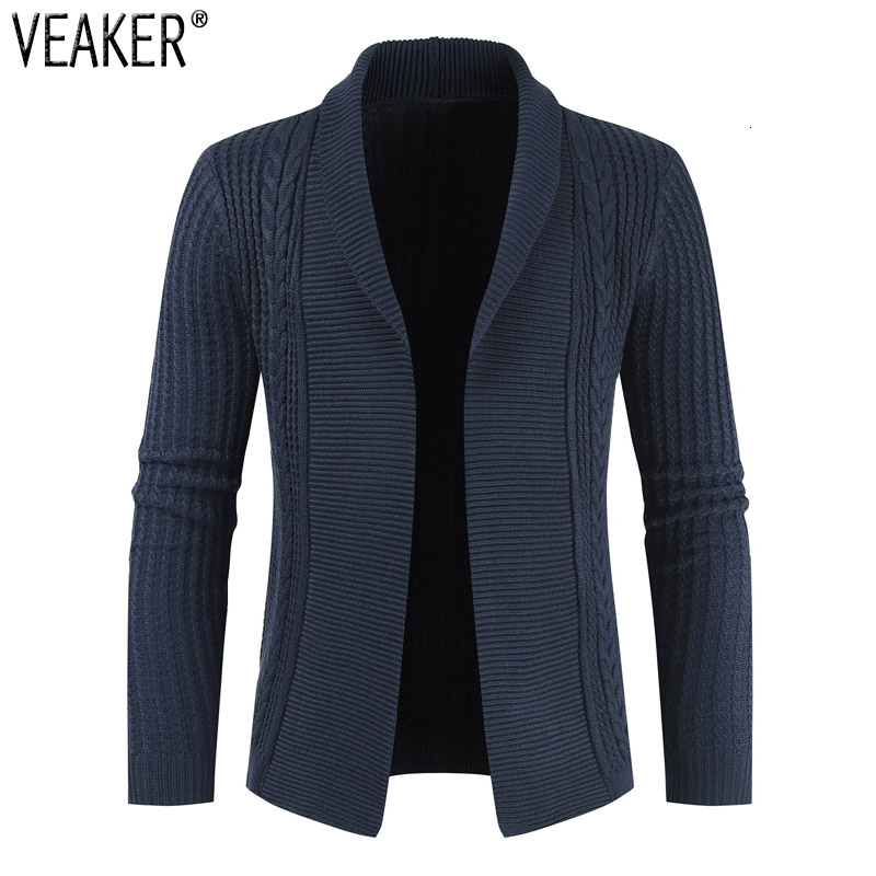 2019 Autumn New Men's Slim Fit Cardigan Sweater Male Long Sleeve Solid Color Knitted Cardigan Outerwear Men Casual Sweatercoat