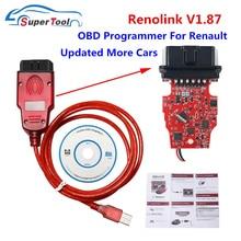 Recém renolink v1.87, cabo usb de diagnóstico para programador ecu de renault, reno link, v1.87/v1.52, codificação de chave/programa ecu/redefinição de airbag