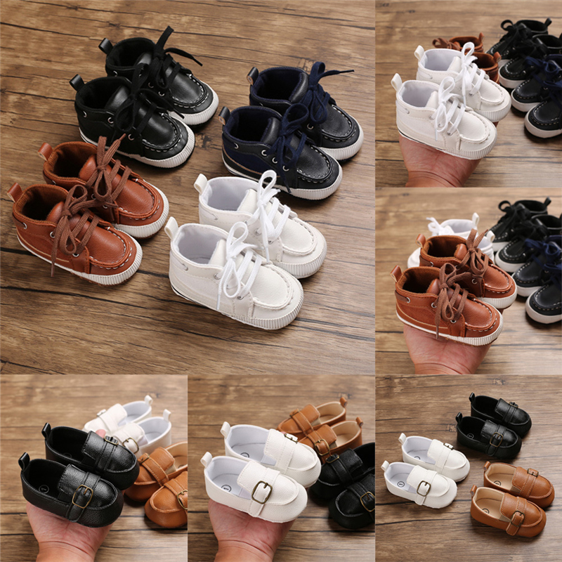 New Baby Boy High Tube Cute Soft Bottom PU Leather Newborn Baby First Walkers Baby Shoes Child Boy Shoes Non-slip Baby Shoes