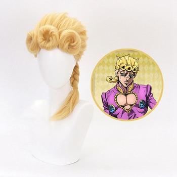 Peluca de Cosplay de Anime Jojos Bizarre Adventure Golden Wind, peluca de disfraz de Carnaval amarillo Jojo No Kimyou Na Bouken Giorno Giovanna