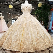 LS65411-1 big skirt bridal gown sleeveless golden champagne color evening dress with lace tain buy direct from china online shop(China)