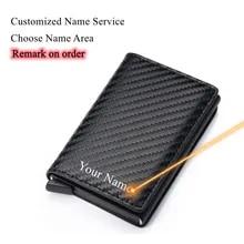 Card Wallet Credit-Card-Holder Aluminum-Frame Carbon-Fiber RFID Metal Retro Commercial