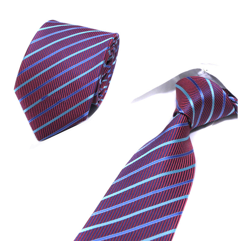 Men's Blue Red Ties Stripe Geometric 8cm Polyester Jacquard Necktie Formal Dress Accessories Wedding Party Mens Classic Ties