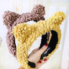 2019 New Arrival Women Cute Solid Color Fluffy Wide Band Hair Hoop Headband Headwear Photo Props hair accessories Hoop/hair