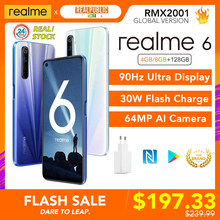 Realme 6 Globale Version 8GB 128GB Handy Helio G90T 30W-Ladung 4300mAh 64MP Quad kamera EU Stecker NFC Play Store