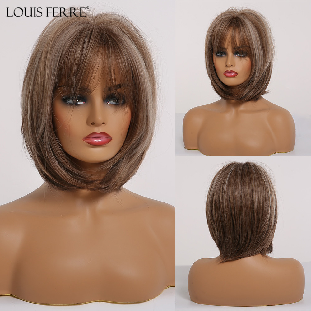 LOUIS FERRE Short Straight Bob Hair Wig With Bangs Cute Lolita Cosplay Party Wigs For Women Mixed Brown Ash Gray Synthetic Wigs