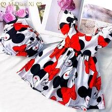 0-24M Toddler bebek kız elbise yaz elbisesi uçan kollu yenidoğan bebek elbise pamuk Minnie elbise + iç çamaşırı pantolon takım elbise