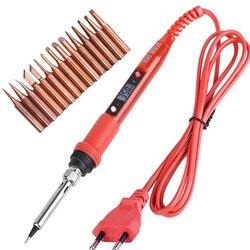 Kit de pistola para soldar LCD de 110V, 220V, 80W, temperatura ajustable, herramientas de soldadura, calentador de cerámica, puntas de soldadura, 15 tipos de punta de cobre