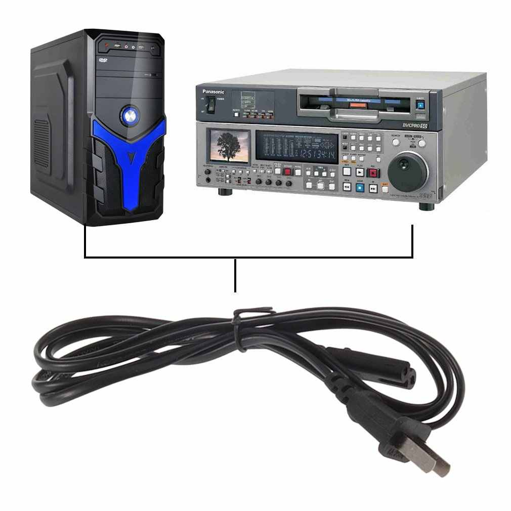 5 pies enchufe de EE. UU. Puerto de 2 puntas Cable adaptador de alimentación de CA Cable para VCR para PS2 para PS3 delgado más reciente