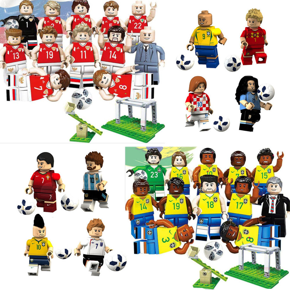 World Football Team Figures German soccer players model building Brazil Russia team bricks kid toy image