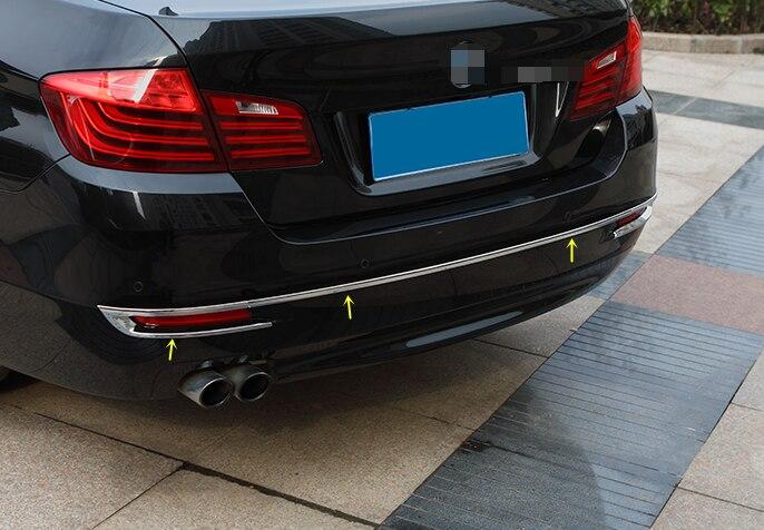 for BMW 5 Series F10 2014 2015 Chrome Rear Bumper Light Cover Molding Trim 3pcs