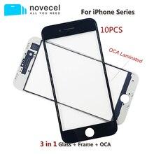 10pcs 3 ב 1 קר עיתונות מול מסך זכוכית עם מסגרת OCA סרט עבור iPhone 6 6S 7 8 בתוספת חיצוני מסך סדוק זכוכית החלפה
