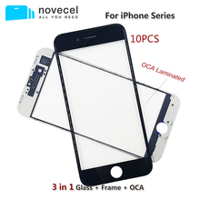 10pcs 3 in 1 Cold Press Front Screen Glass with Frame OCA film for iPhone 6  6S 7 8 Plus Outer Screen Cracked Glass Replacement