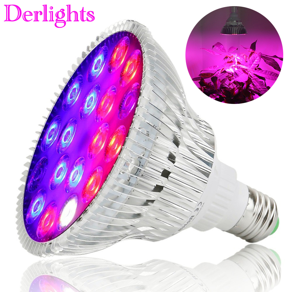 54W Full Spectrum LED Grow Light UV IR AC85~265V E27 Growth Lamp For Indoor Hydroponics Flower Veg Greenhouse Tent