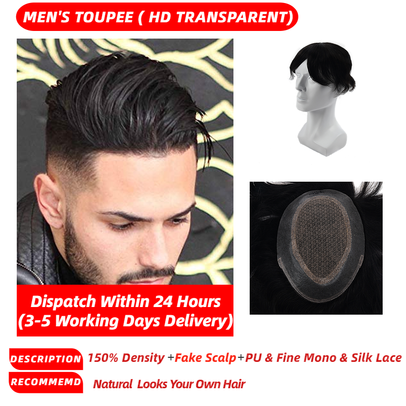 MW Men Toupee Wig Human Hair Pieces Fine Mono Net Durable  Handtied Natural Black 6 Inches 130% Density Free Shipping