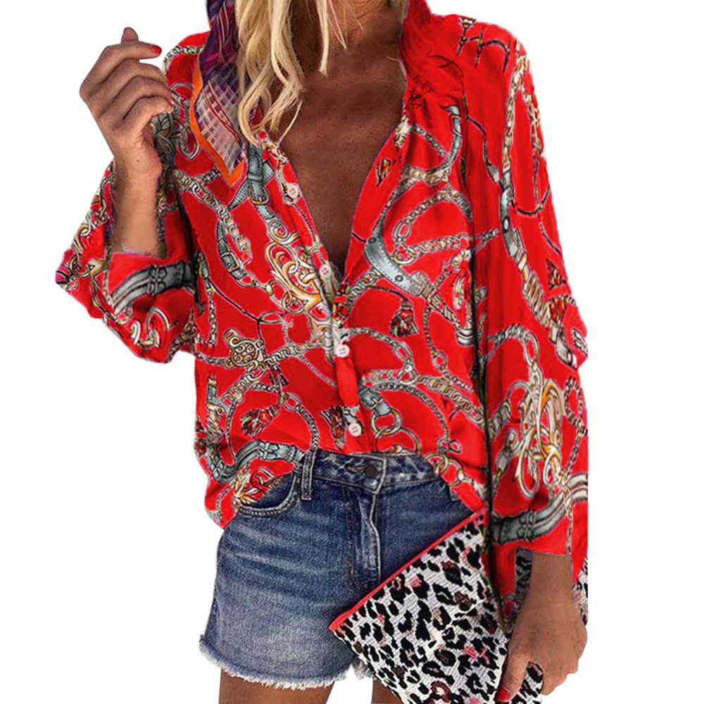 Wenyujh 2019 الخريف بلوزة غير رسمية المرأة أنيق فائق س الرقبة الإناث الأساسية قميص قابل للتعديل كم سلاسل طباعة زر البلوزات