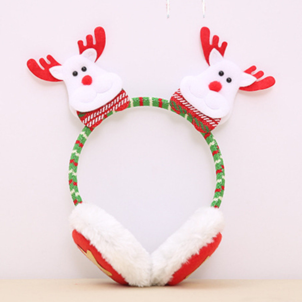 Christmas Children Winter Cute Ear Headphones Plush Earmuffs меховые теплые наушники Oorwarmers Cute Ear Santa Claus Headband #4