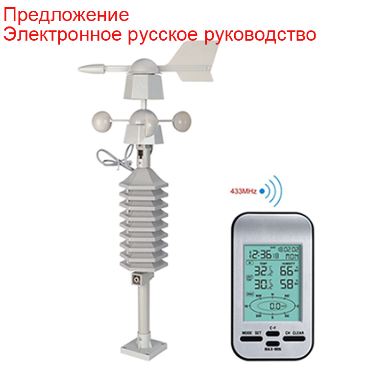 Weather Station Wind Anemometer With Wireless Indoor Outdoor Thermometer,Wind Speed Meter Direction Alerts,Alarm Clock