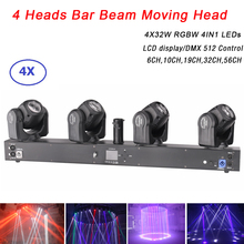 цена на 2020 New RGBW 4IN1 Moving Head LED Bar Beam Light 4 Head 32W RGBW LED Disco Light Dj Lighting Effect Beam Moving Head Light