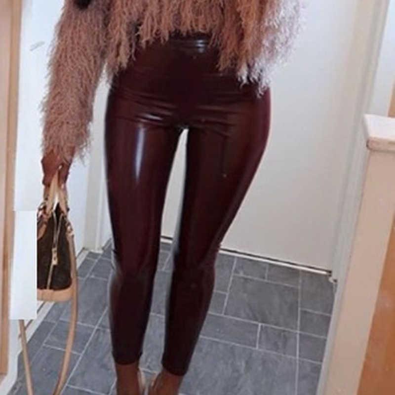 Kadın PU deri Legging pantolon sıska elastik yüksek bel bayan Legging ince spor ayak bileği sahte deri pantolon seksi Leggins