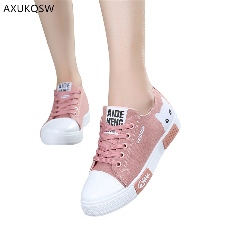 Women's Breathable Tennis Shoes 2019 Autumn Flat Cartoon Canvas Shoes White Sports Shoes Tenis Feminino Women's Shoes
