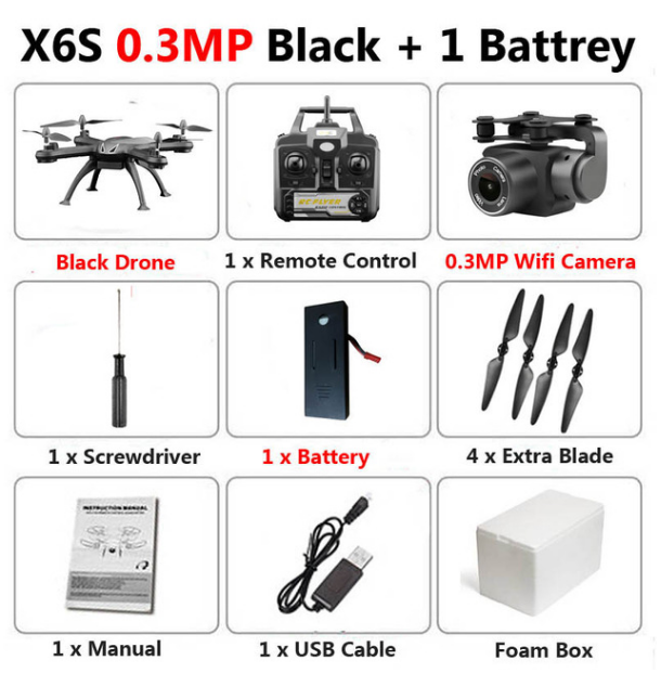 X6S 4K Drone With Camera 1080P WiFi FPV Real Time Aerial Video Altitude Hold Quadcopter Helicopter Kids Toys Remote Control
