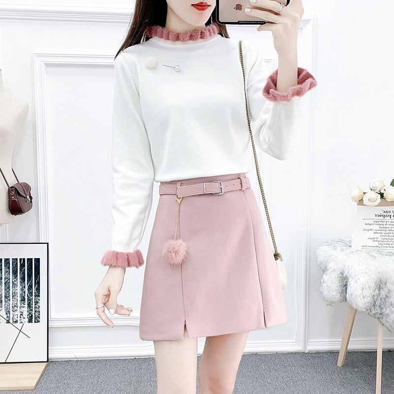Photo Shoot 2019 Online Celebrity Playful Western Style Hipster By Age Frilled Collar Knit Furry Ball Skirt Two-Piece Set