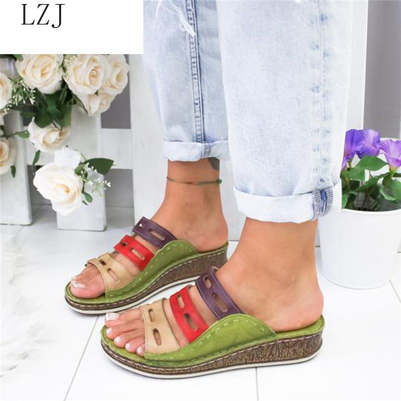 2020 Summer Women Sandals Stitching Sandals Ladies Open Toe Casual Shoes Platform Wedge Slides Beach Shoes Dropshipping