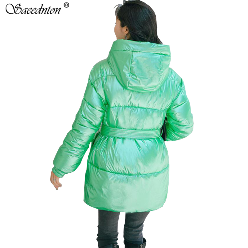 Winter Coat For Women 2019 Woman Fashion Glossy Hooded Sashes Down Cotton Padded Parkas Jackets Female Thicken Warm Snow Outwear in Parkas from Women 39 s Clothing
