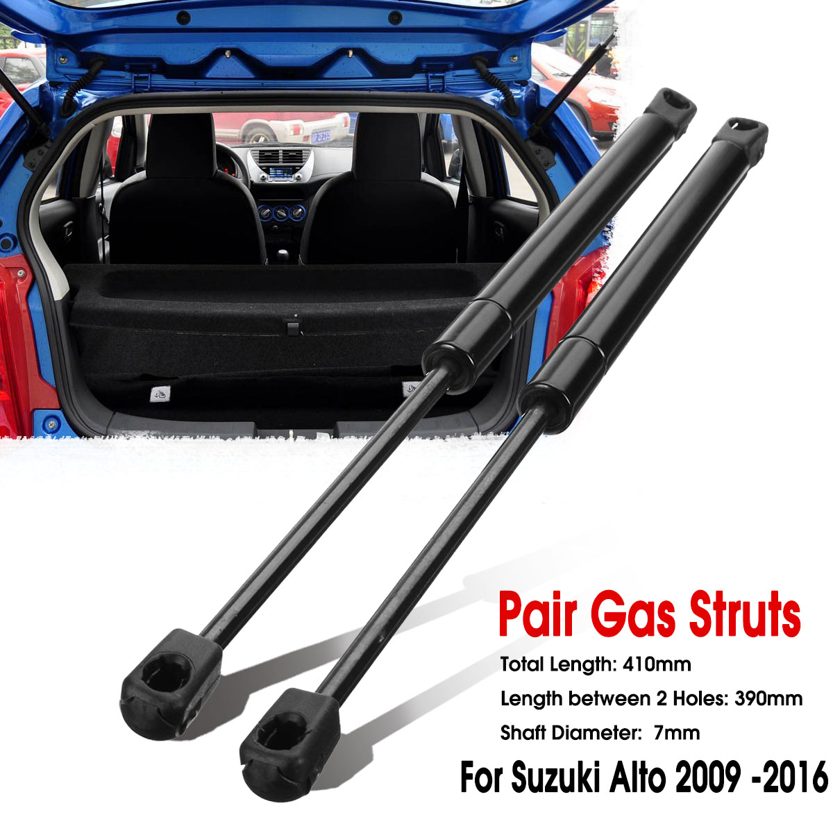 2pcs 스즈키 알토 HA25 HA35 용 자동차 뒷문 뒷문 가스 리프트 서포트 스트럿 바 2009 2010 2011 2012 2013 2014 2015 2016